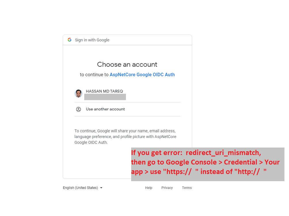 Google authentication - adding Google login to project Step 14